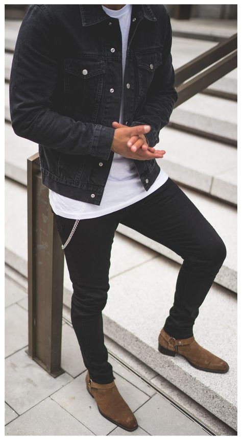 Black Denim Jacket Outfit, Black Shirt Outfits, Black Denim Shirt, Black Outfit Men, Black Jeans Men, Denim Suit, Men's Denim, Winter Outfits Men, Stylish Mens Outfits