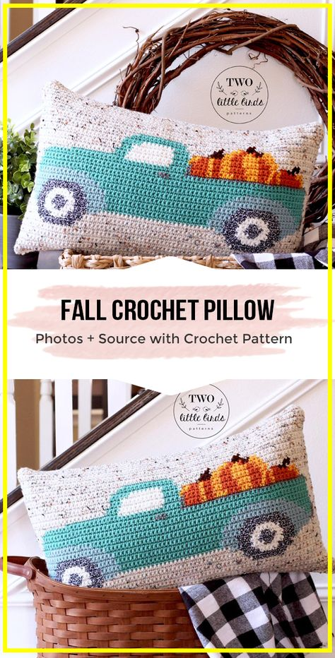 Crochet Projects crochet Fall Crochet Pillow pattern - easy crochet Pillow Pattern for beginners Crochet Geek, Crochet Home, Crochet Crafts, Crochet Yarn, Easy Crochet, Crochet Projects, Crochet Afghans, Knitting Projects, Crochet Ideas