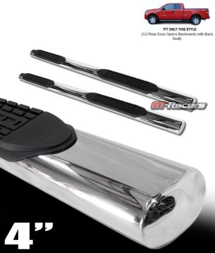 """For 2004-2008 F150 Crew Cab 4/"""" Oval S//S Chrome Side Step Nerf Bars Running Board"""
