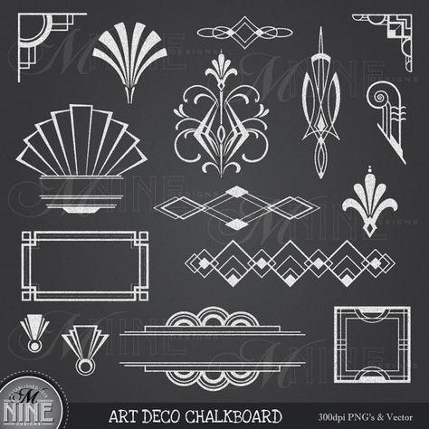 Kreide-ART-DECO-Clipart: Tafel-Art-Deco-Clip Art von MNINEDESIGNS
