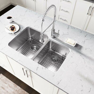 Mr Direct Stainless Steel 32 X 21 Double Basin Undermount Kitchen Sink Double Bowl Kitchen Sink Sink Apron Sink Kitchen