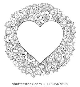 Pattern in form of heart for Henna, Mehndi, tattoo, decoration - frame. Decorative ornament in ethnic oriental Indian style. Coloring book page.