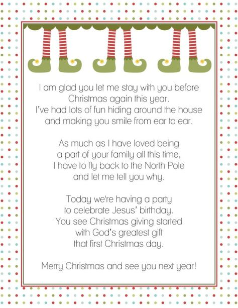 A printable goodbye letter for Elf on the Shelf Perfect way to - goodbye letter