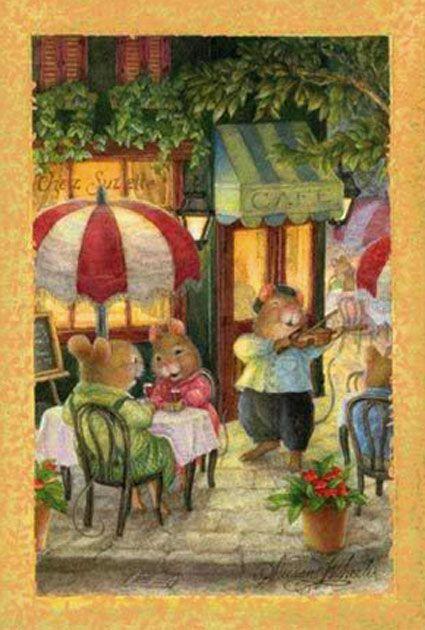 SUSAN WHEELER Holly Pond Hill  Mouse Balcony Tea Coffee BIRTHDAY Greeting Card