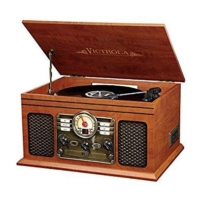 Victrola Nostalgic Classic Wood 6-in-1 Bluetooth Turntable Entertainment Center,