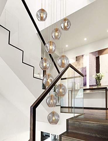 Staircase Chandelier Long Chandelier Modern Minimalist Nordic Duplex Rotating Staircase Lamp G In 2020 Pendant Lighting Dining Room Staircase Lighting Ideas Chandelier