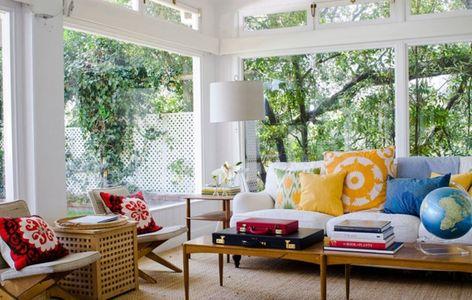 dekokissen ideen wohnzimmer gelb rot blau grün abstrakte muster - wohnzimmer gelb blau
