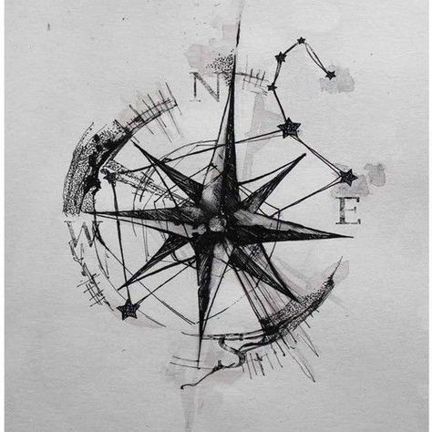Compass Rose with graphical elements Tattoo Tattoo for a man, left forearm, inside. Black tattoo (no colors)