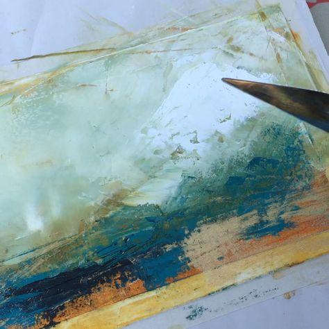 Using a palette knife and fan brush for blending