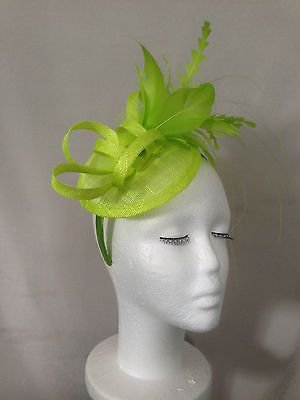 cdd3a6d9 Ladies Bright Green Sinamay Feather Headband Fascinator Wedding Races