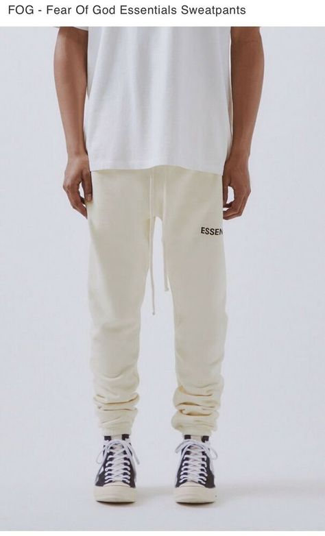 FOG-FEAR OF GOD X PACSUN ESSENTIALS GRAPHIC GRAY SWEAT PANTS!!!