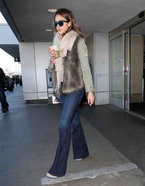 7284949baa16d Jessica Alba Flare Jeans - Jessica Alba Fashion Lookbook - StyleBistro