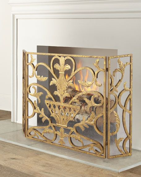 Three Panel Iron Fireplace Screen With Urn Design Fireplace Screens Decorative Fireplace Screens Farmhouse Fireplace Screens