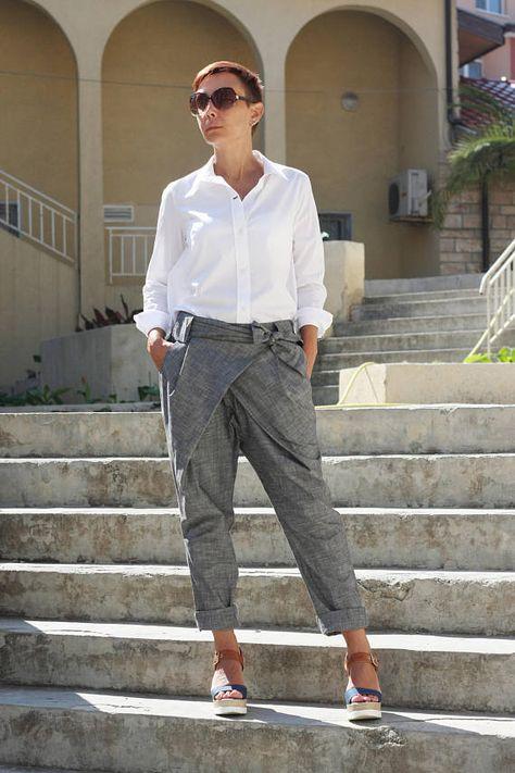 Pants women, Linen pants, Linen clothing, Trousers women, Cropped pants, Summer pants, Baggy pants,