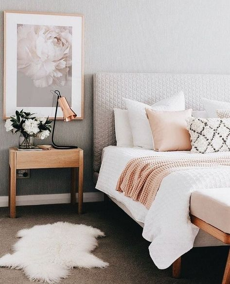 #home . . . . . . . . . . 🛋️ #room #furniture #interiordesign #homedecor  #decor #homedesign #design #photography #instapic #photooftheday #interior #property #ideas #bedroom #bed #lamp #gray #pillows #white #painting #roses #cozy #sleep #beautiful #rosegold #style