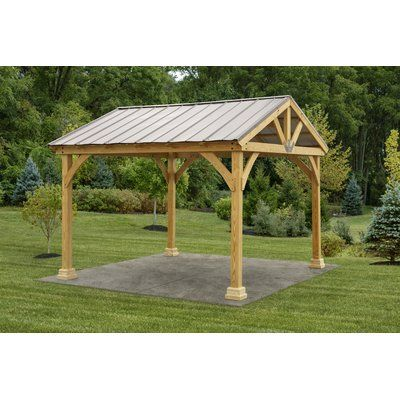 Yardcraft Westmont 12 5 Ft W X 12 Ft D Solid Wood Patio Gazebo Patio Gazebo Backyard Pavilion Backyard Pergola