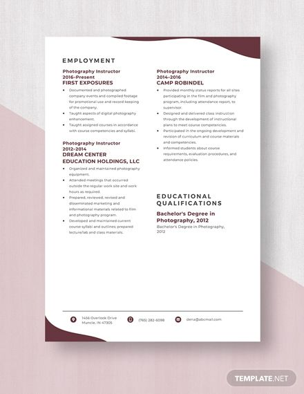 Photography Instructor Resume Cv Template Word Apple Pages Cv Template Word Resume Resume Template