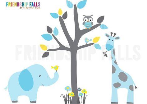 mini jungle decals, small elephant wall decal, giraffe decal