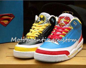ae3ddac95987 ... Superman and Batman Custom shoes Nike Air Jordan Jordan shoes  hand-painted shoes custom Nike ...