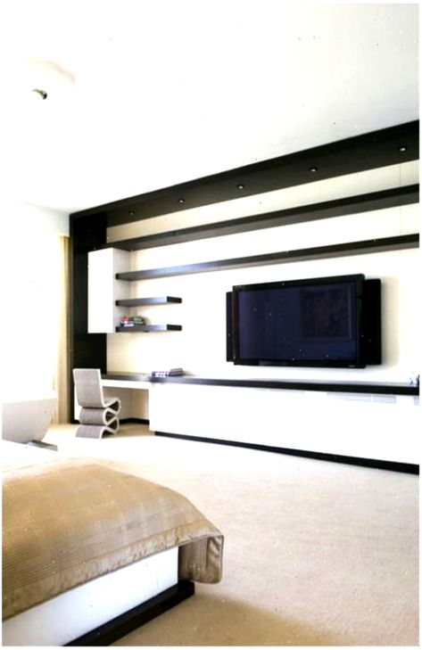 Contemporary Bedroom Wall Units Modern Wall Tv Unit In Master For Innovative And… #contemporarytvunits #Bedroom #contemporary #contemporarytvunitsinspiration #Innovative #Master #Modern #tvunits #TVGerte #unit #Units #wall