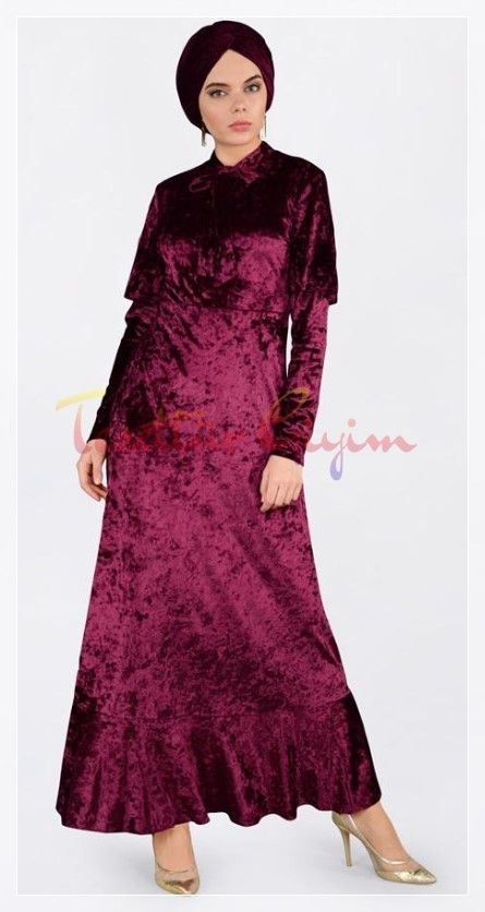 Parlak Tesettur Kadife Elbise Modeli High Neck Dress Long Sleeve Dress Dresses With Sleeves