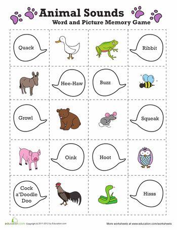 Easy Animal Memory Game Worksheet Education Com Animal Sounds Preschool Memory Games Animal Sounds Activity Animal sound worksheet for kindergarten