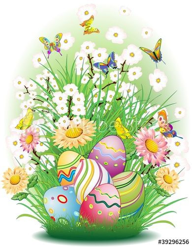 Vettoriale Pasqua Uova E Sfondo Natura Easter Eggs And Spring Flowers Easter Illustration Happy Easter Pictures Happy Easter Pictures Inspiration