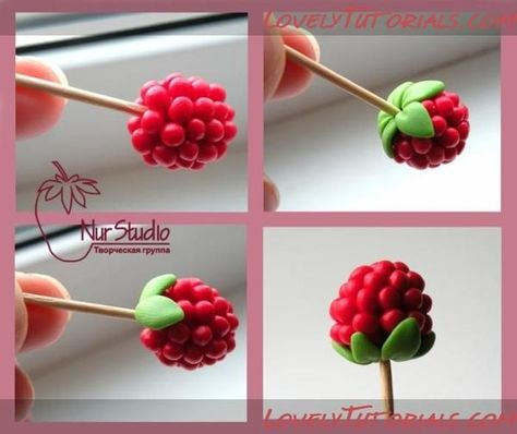 Berry tutorial, this is polymer clay but could easily translate to gum paste. Fondant Flowers, Clay Flowers, Sugar Flowers, Fondant Bow, Fondant Cakes, Diy Fimo, Polymer Clay Crafts, Fimo Clay, Cake Decorating Techniques