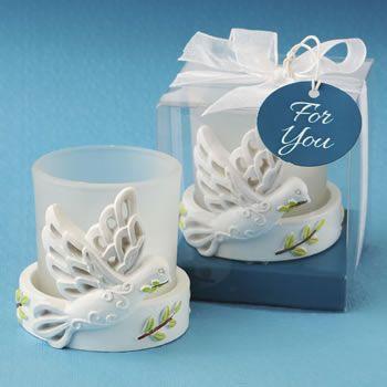 Elegant White Dove Candle From Fashioncraft Winter Seasons Seasonsgreeting Happyholidays Holid Wedding Favor Sayings Wedding Favors Greek Wedding Candles