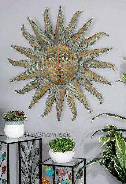 Large Wall Art Sun Face Metal Starburst Garden Art Iron Celestial