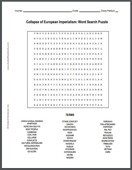 World war 1 wordsearch puzzle answers information