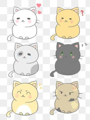 Cute Cartoon Japanese Fresh Cat Expression Pack Universal Set Png And Psd