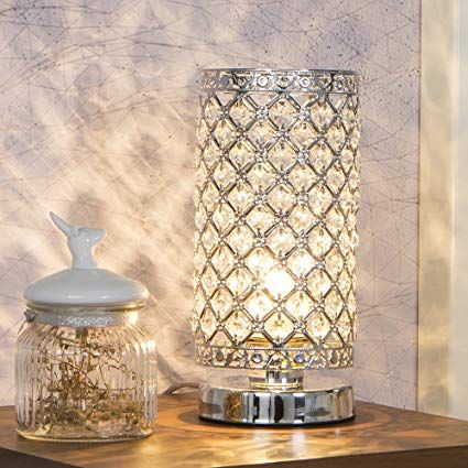 Glanzhaus Elegant Decorative Nightstand Silver Crystal Table Lamp Bedside Desk Lamp With Crystal Lamp Shade F Bedside Desk Lamps Crystal Lamp Nightstand Decor