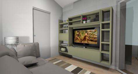 Come arredare un soggiorno piccolo: progetto con parete ...