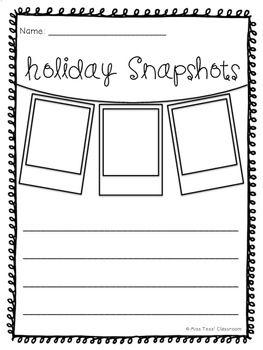 Holiday Recount Writing Templates Holiday Snapshots Holidays Writing Activities Recount Writing Holiday Writing