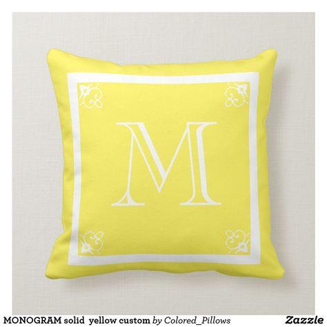 Monogram Solid Yellow Custom Throw Pillow Yellow Decorative