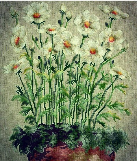 Country Field Poppies Daisies Cows Cross Stitch Chart E