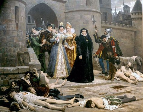 Édouard Debat-Ponsan - One morning at the gates of the Louvre, Catherine de' Medici (in black) calmly viewing the bodies of victims of the 1572 St. Bartholomew's Day massacre