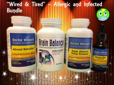 """""""Wired and Tired"""" - Allergic and Infected profile #adrenal #supplements bundle.  $134.60  http://www.integrativepsychiatry.net/adrenal_fatigue.html"""