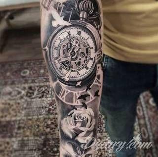 Znalezione Obrazy Dla Zapytania Tatuaz Zegar Z Roza 3d