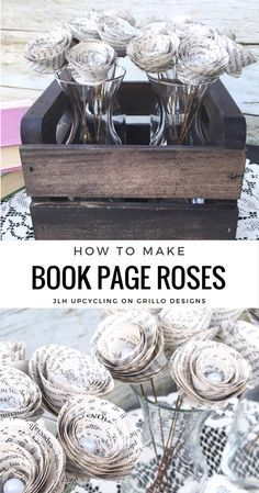 how to make book page roses is part of Book page crafts - How to Make Book Page Roses Bookart DIY Recycled Book Crafts, Old Book Crafts, Book Page Crafts, Book Page Art, Up Book, Book Pages, Recycled Clothing, Recycled Fashion, Book Art