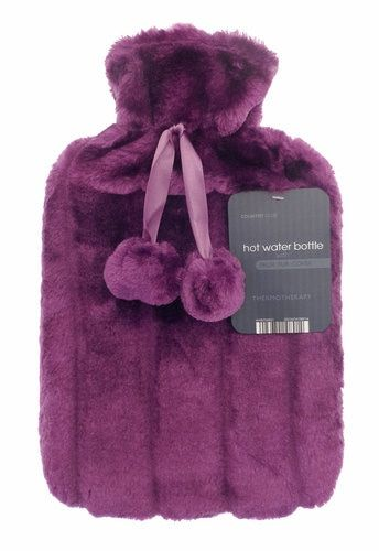 Lilac Large HOT Water Bottles with Luxury Faux Fur and Pom Poms 2L Litre