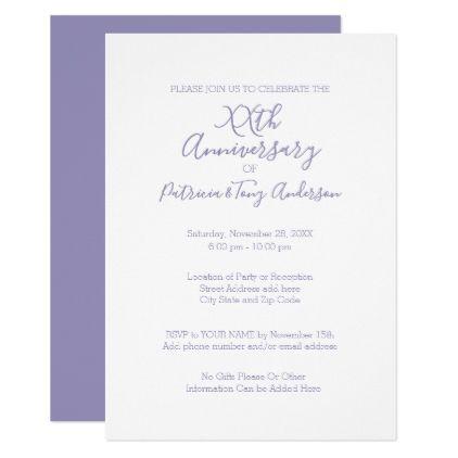 Any Year Wedding Anniversary Minimal Lavender Invitation