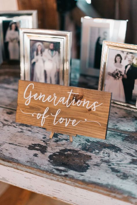 Wedding photo display idea - Generations of love - wooden wedding sign with framed photographs of the bride and groom's loved ones Family Wedding Pictures, Wedding Photos, Bridal Pictures, Farm Wedding, Wedding Day, Wedding Tips, Wedding Couples, Boho Wedding, Wedding Reception