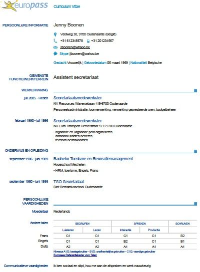Cv Europass Officiel Modello Cv Immagini Parole Curriculum Vitae