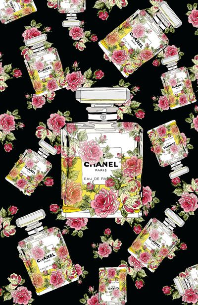 Floral Bottle Inspired By Chanel 9 Art Print Chanel Art Chanel Wallpapers Chanel Illustration