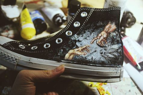 Converse All Star Low Top Shoes Painted Musical Note Custom