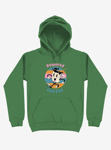 """Need. More. Coffee. If you plan on functioning at all today pour a hot cup of Joe -- and grab this kelly green pullover hoodie. It has a jaunty lil mug and says """"Powered by Coffee."""" Time to get caffeinated mmmkay?! Officially licensed art from Vincent Trinidad."""