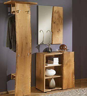 Unbekannt 3 Tlg Garderobenset Eiche Massiv Holz Natur Garderobe