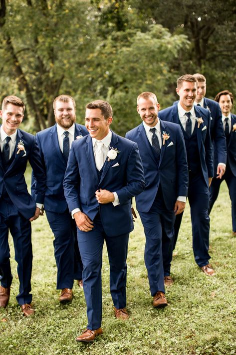 Love a good bowtie on a navy suit! Groomsmen Attire Navy, Bridesmaids And Groomsmen, Groomsmen Wedding Suits, Guys Wedding Attire, Grooms Men Attire, Navy Suits Groomsmen, Groom Wear, Blue Suit Wedding, Wedding Men